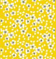 sakura blossom seamless pattern on sunny yellow vector image vector image