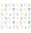 seamless line doodle memphis pattern emoticon vector image vector image