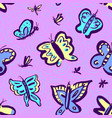 seamless pattern with cute butterflies background vector image