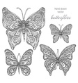 set black and white ornamental butterflies vector image