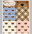 Set of animal seamless patterns with bear 1 vector image vector image