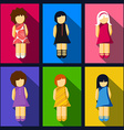 Set of girl flat icons with colorful dresses vector image