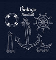 set vintage hand drawn nautica vector image