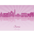 Siena skyline in purple radiant orchid vector image vector image