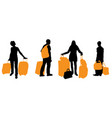 silhouette of traveling people with suitcases and vector image
