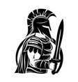 spartan sign with sword and shield vector image vector image