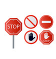 stop signs collection in red and white traffic vector image