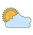 summer sun with clouds vector image