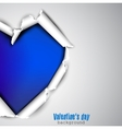 Torn paper with space for text Blue heart vector image