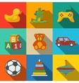 Toys flat long shadow icons set with - car duck vector image