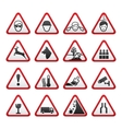 triangular warning hazard signs set vector image vector image