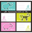 Tropic animals printable cards vector image vector image