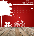 Valentines day 2015 Calendar February vector image