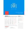wall calendar planner template for august 2019 vector image