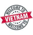 Welcome to Vietnam red round vintage stamp