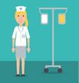 woman nurse with medical transfusion tool vector image