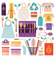 zero waste and eco friendly lifestyle items vector image