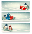 Christmas winter banners with presents