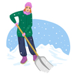 Young cheerful woman cleans the road from snow vector image