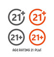 age rating 21 plus movie icon under 21 years sign vector image vector image