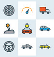 automobile icons colored line set with speedometer vector image vector image