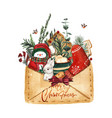 bright watercolor merry christmas card with elemen vector image vector image