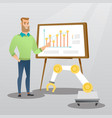 businessman and robot giving business presentation vector image vector image