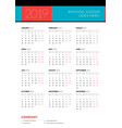 calendar for 2019 year week starts on monday vector image vector image