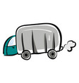 camping truck hand drawn design on white vector image vector image
