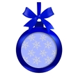 Card Blue ball with a bow and place for an vector image vector image
