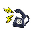 cartoon ringing telephone with thought bubble vector image