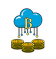 cloud data with bicoin symbol and coins vector image