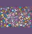 colorful doodle cartoon set baobjects vector image vector image
