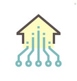 computer chip processor and home for smart home vector image vector image