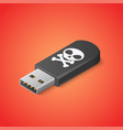 computer virus on usb flash card danger malware vector image