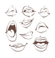 contour sketch set feminine lips on vector image vector image