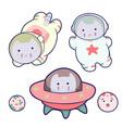 cute cats and a rocket kawaii cartoon characters vector image vector image