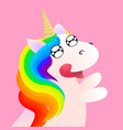 cute comic unicorn emotion anticipation vector image