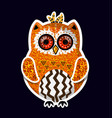 cute yellow boho style indian hand drawn owl vector image vector image