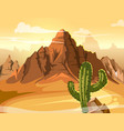 desert hills cactus near big mountain vector image vector image