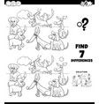 differences coloring game with funny dogs group vector image vector image
