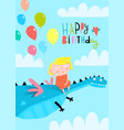 dragon or dinosaur flying with girl and balloons vector image vector image