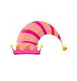 funky pink stripped cartoon christmas elf vector image