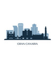 gran canaria skyline monochrome silhouette vector image vector image
