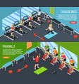 gym isometric banner set vector image vector image