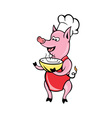 Happy Pig chef cook baker soup bowl vector image vector image