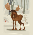happy smiling elk character mascot walking forest vector image vector image