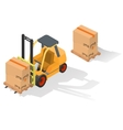 Isometric forklift truck with box vector image vector image