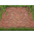 ivy and grass on brick wall background vector image vector image