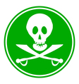 Jolly Roger sign button vector image vector image
